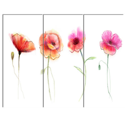 Designart Watercolor Poppy Flowers Sketch FlowerArtwork On Canvas - 3 Panels