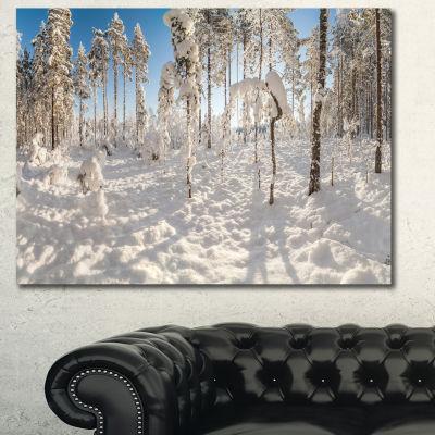 Designart Winter Snow Covered Wood Landscape Canvas Art Print - 3 Panels