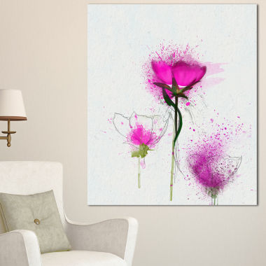Designart Watercolor Purple Daisy Flowers Floral Canvas Art Print