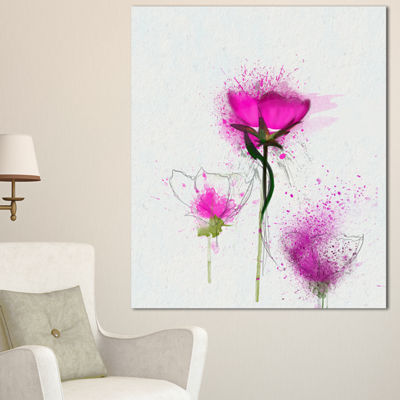 Designart Watercolor Purple Daisy Flowers FloralCanvas Art Print - 3 Panels
