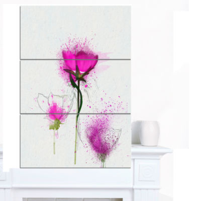 Designart Watercolor Purple Daisy Flowers Floral Canvas Art Print - 3 Panels
