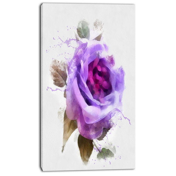 Designart Watercolor Purple Rose With Leaves Floral Canvas Art Print