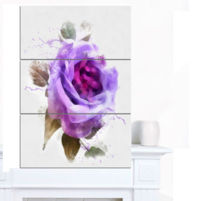 Designart Watercolor Purple Rose With Leaves Floral Canvas Art Print - 3 Panels