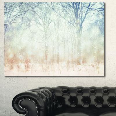 Designart Winter With Foggy Forest Landscape Canvas Art Print