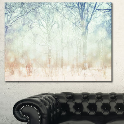 Designart Winter With Foggy Forest Landscape Canvas Art Print
