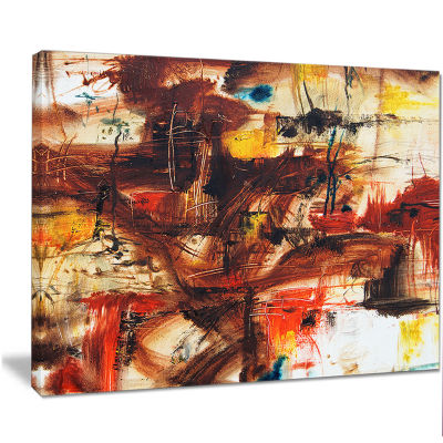Designart Watercolor Red And Yellow Spots Large Abstract Canvas Artwork