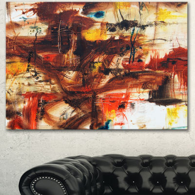 Designart Watercolor Red And Yellow Spots Large Abstract Canvas Artwork - 3 Panels