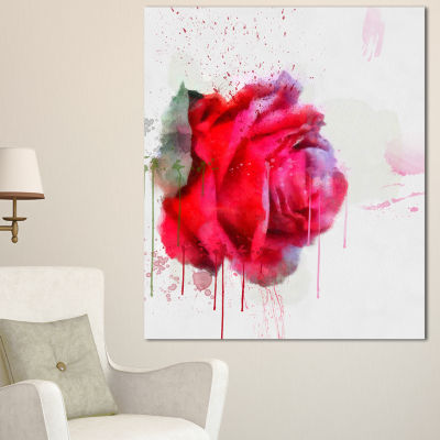 Designart Watercolor Red Rose Illustration FloralCanvas Art Print
