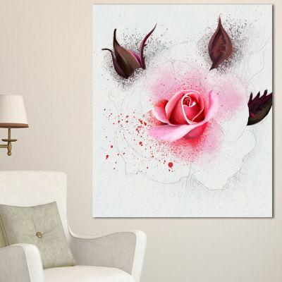 Design Art Watercolor Rose With Brown Buds FloralCanvas Art Print