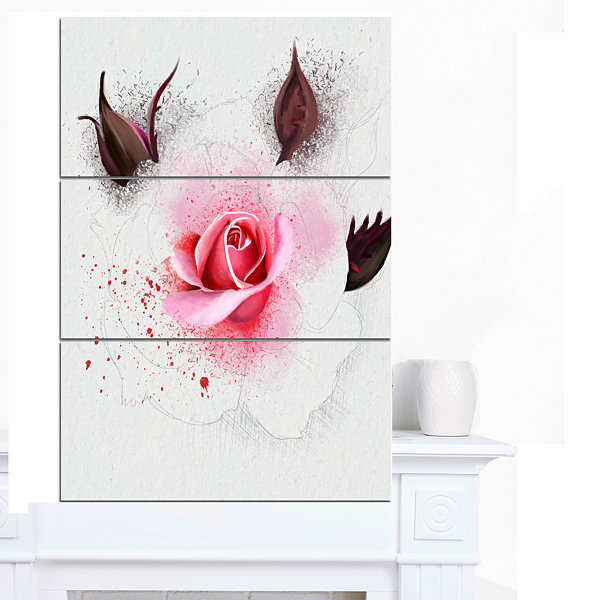 Designart Watercolor Rose With Brown Buds FloralCanvas Art Print - 3 Panels