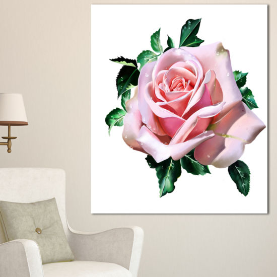 Designart Watercolor Rose With Green Leaves FloralCanvas Art Print