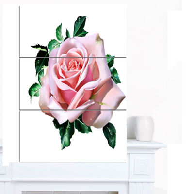 Designart Watercolor Rose With Green Leaves FloralCanvas Art Print - 3 Panels