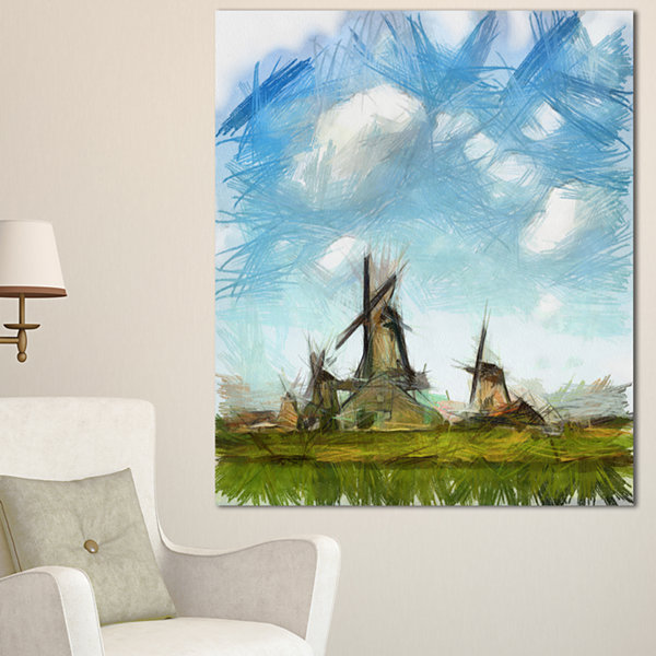 Design Art Watercolor Windmill In Netherlands Large Landscape Canvas Art - 3 Panels