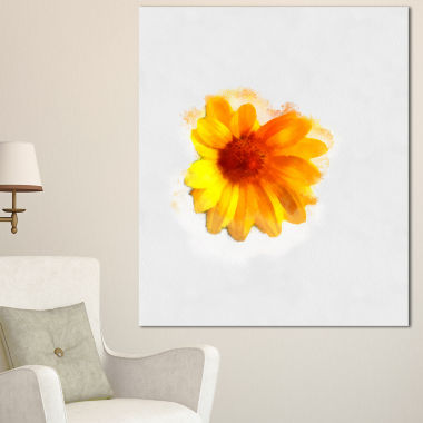 Designart Watercolor Yellow Coreopsis Sketch Floral Canvas Art Print