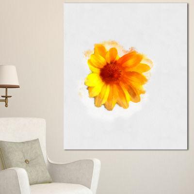 Designart Watercolor Yellow Coreopsis Sketch Floral Canvas Art Print - 3 Panels