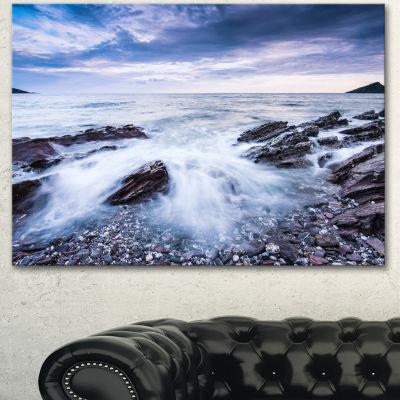 Design Art Waves Crashing At Beach Seascape CanvasArt Print