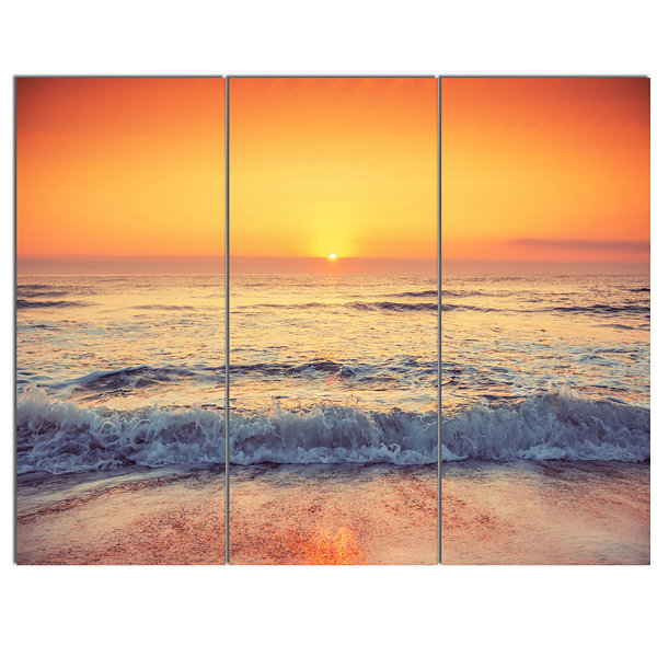 Designart Yellow Cloudscape Over Seashore Large Beach Canvas Wall Art - 3 Panels