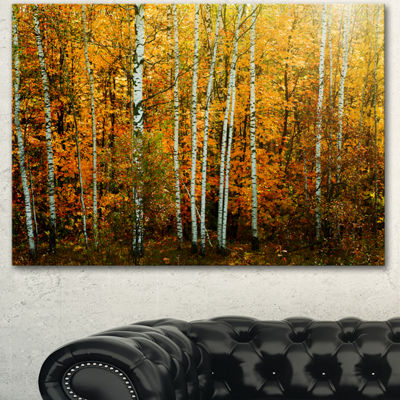Designart Yellow Colorful Autumn Forest Forest Canvas Art Print - 3 Panels