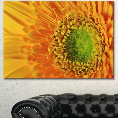 Designart Yellow Daisy Gerbera Flower Close Up Flowers Canvas Wall Artwork - 3 Panels