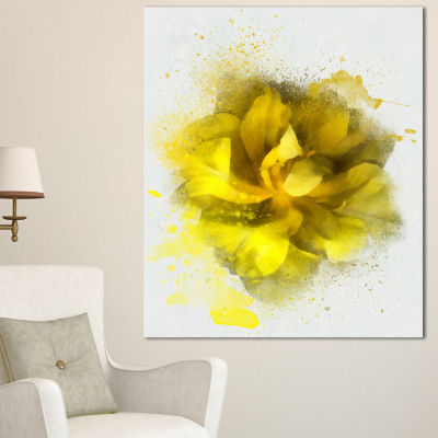 Designart Yellow Flower Illustration On White Floral Canvas Art Print - 3 Panels