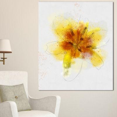 Designart Yellow Flower Sketch On White Flower Artwork On Canvas
