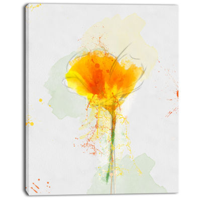 Designart Yellow Flower Sketch Watercolor Floral Canvas Art Print