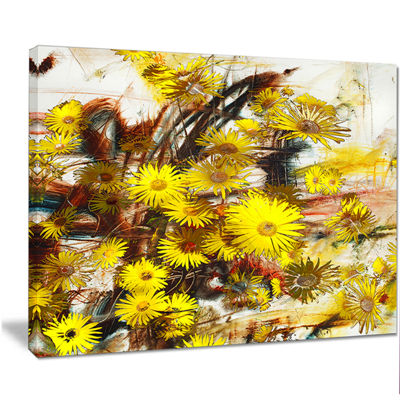 Designart Yellow Flowers Watercolor IllustrationFloral Art Canvas Print