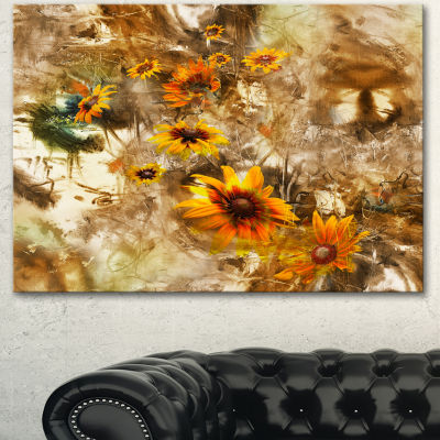 Designart Yellow Flowers With Brown Background Extra Large Floral Wall Art - 3 Panels
