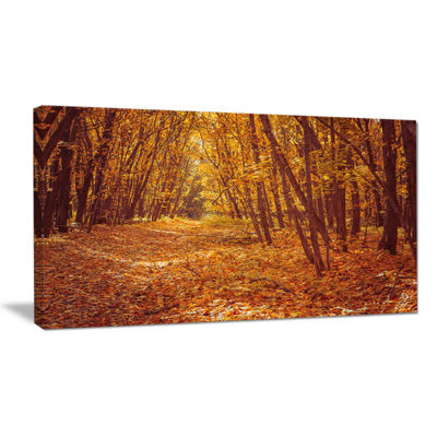 Designart Yellow Forest And Fallen Leaves ModernForest Canvas Art