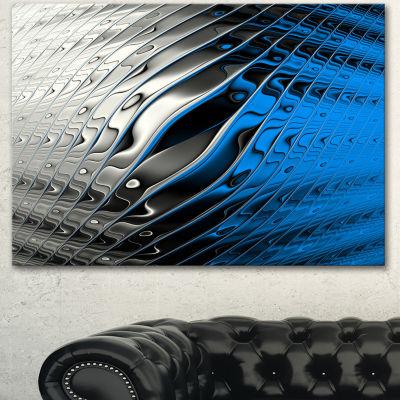Designart Yellow Fractal Art Wave Design AbstractCanvas Wall Art Print