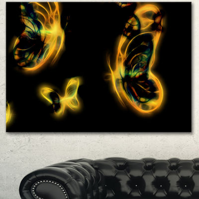Designart Yellow Fractal Butterflies On Black Floral Canvas Art Print - 3 Panels