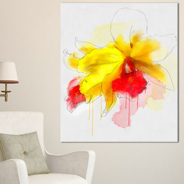 Design Art Yellow Iris Flower With Red Splashes Floral Canvas Art Print