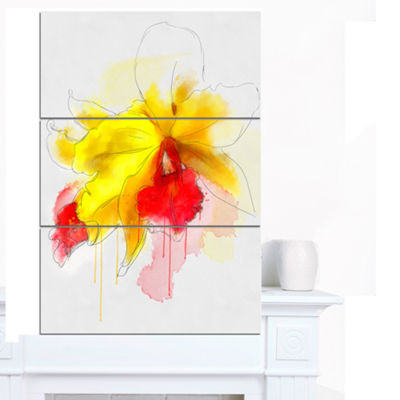 Designart Yellow Iris Flower With Red Splashes Floral Canvas Art Print - 3 Panels