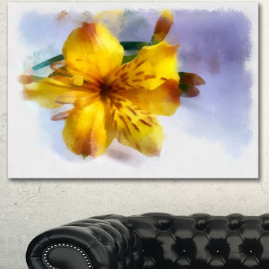 Designart Yellow Lily Hand Drawn Flower Floral Canvas Art Print