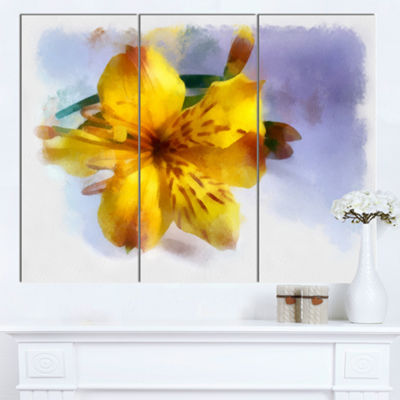 Designart Yellow Lily Hand Drawn Flower Floral Canvas Art Print - 3 Panels