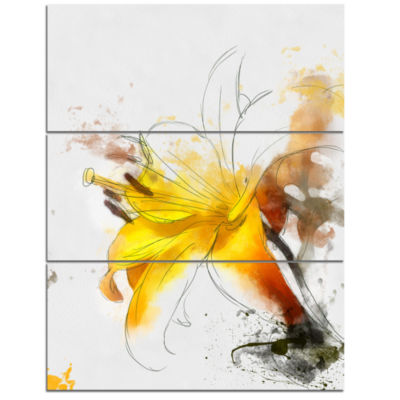 Designart Yellow Lily Sketch Watercolor Floral Canvas Art Print - 3 Panels