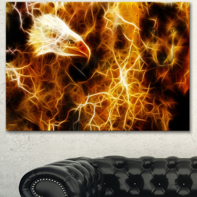 Design Art Wolf And Eagle Collage Abstract CanvasArt Print - 3 Panels