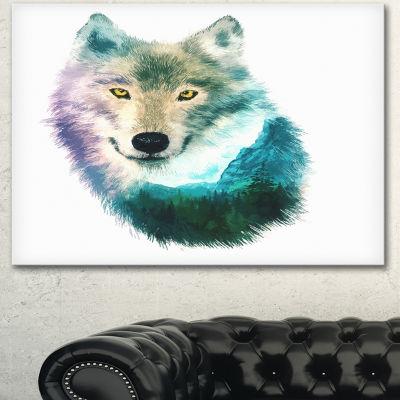 Designart Wolf Head Double Exposure Drawing LargeAnimal Canvas Art Print