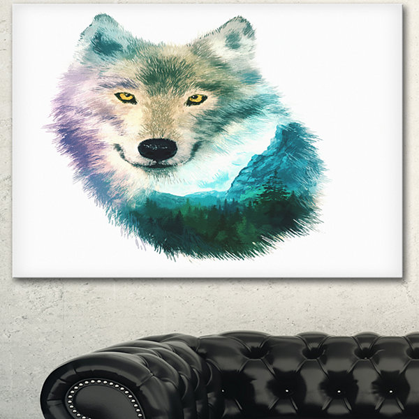 Design Art Wolf Head Double Exposure Drawing LargeAnimal Canvas Art Print - 3 Panels