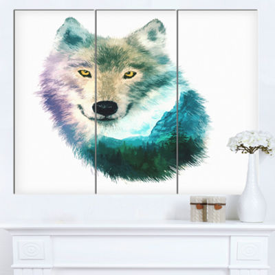 Designart Wolf Head Double Exposure Drawing LargeAnimal Canvas Art Print - 3 Panels