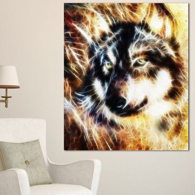 Designart Wolf Multicolor Collage Abstract CanvasArt Print