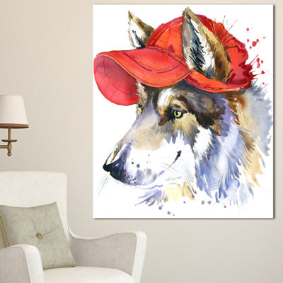 Designart Wolf With Red Cap Illustration Animal Canvas Wall Art - 3 Panels