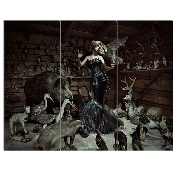 Designart Woman Among Wild Animals Animal CanvasArt Print - 3 Panels