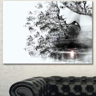 Design Art Woman And Beauty Of Nature Extra LargeLandscape Canvas Art Print - 3 Panels