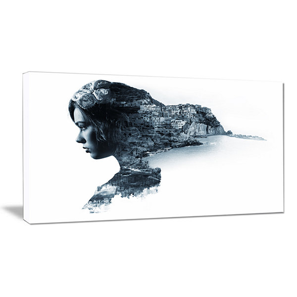 Design Art Woman Portrait Double Exposure PortraitCanvas Art Print