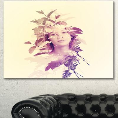 Designart Woman Portrait With Leaves Portrait Canvas Art Print