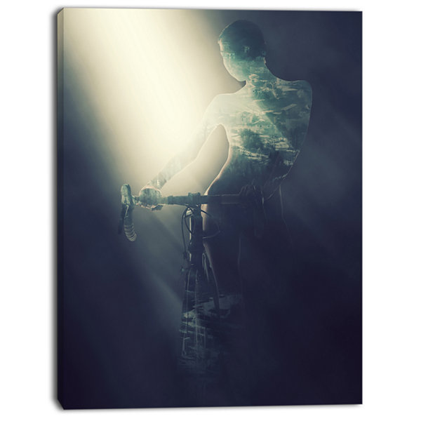 Design Art Woman With Bicycle In Spotlight PortraitCanvas Art Print
