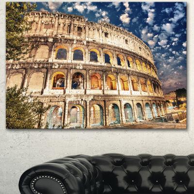 Designart Wonderful Coliseum At Dusk Landscape Canvas Art Print - 3 Panels