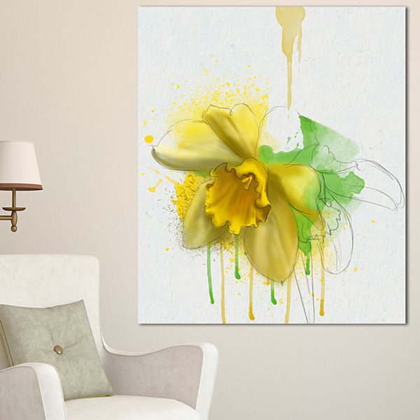 Designart Yellow Narcissus Flower Watercolor Floral Canvas Art Print - 3 Panels