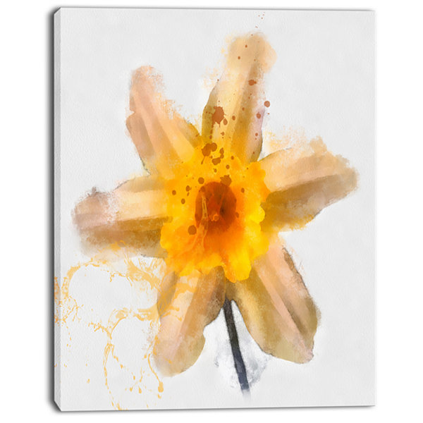 Designart Yellow Narcissus Sketch Watercolor Floral Canvas Art Print